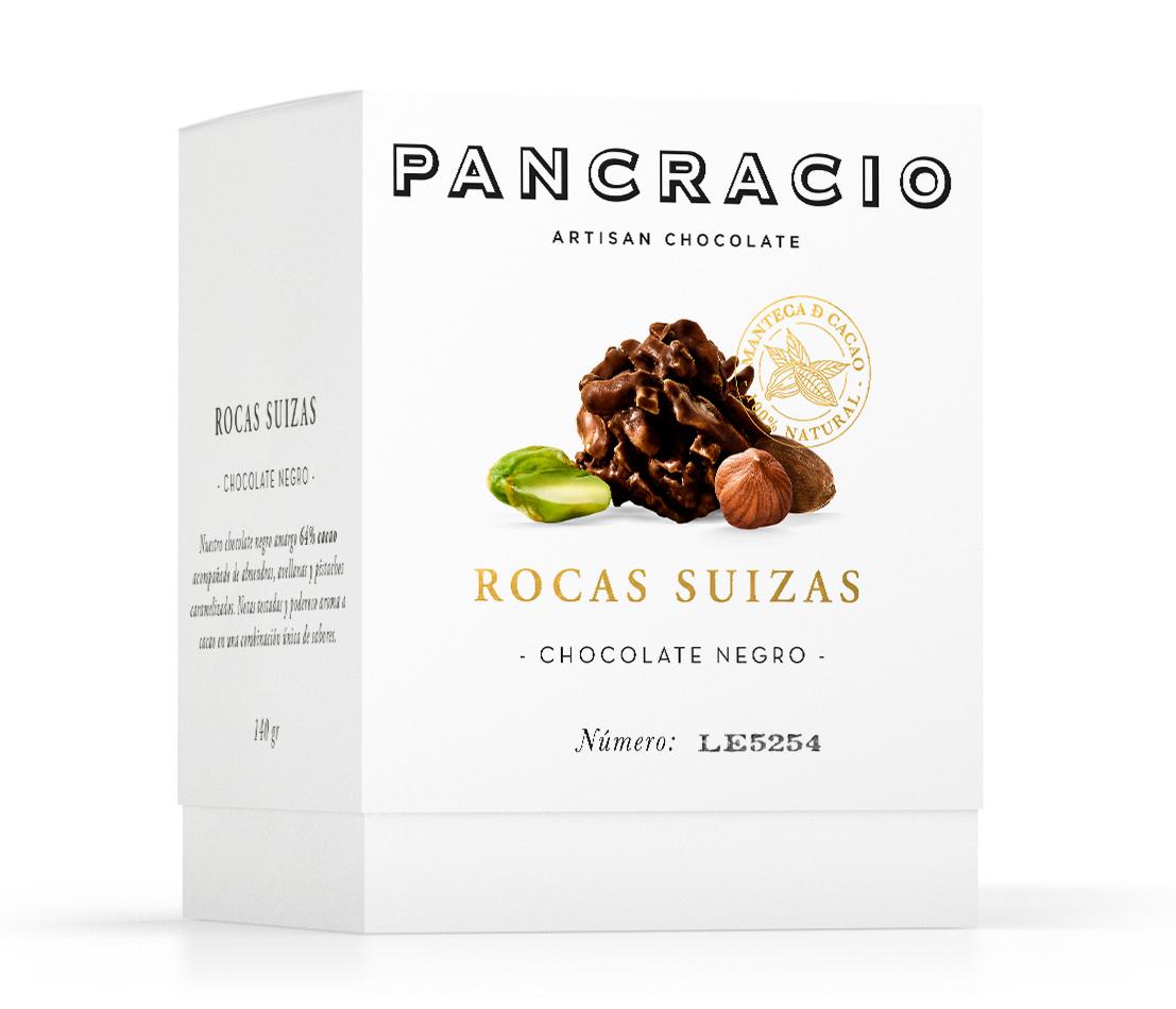 Rocas de chocolate negro, almendra, avellana, pistacho